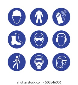 Safety wear signs: goggles, harness, helmet, boots, footwear, glasses, gloves, gas mask, dust mask, face shield, respirator, ear protectors. Safety equipment icon collection / set. Vector illustration
