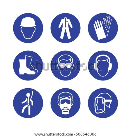 Safety Wear Signs Goggles Harness Helmet Stock Vector Royalty Free