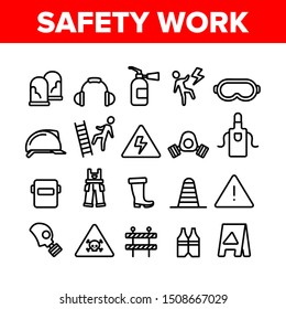 Safety Work Collection Elements Icons Set Vector Thin Line. Goggles And Earphones, Respirator And Clothes Equipment Tools For Safe Work Concept Linear Pictograms. Monochrome Contour Illustrations