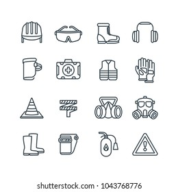 Safety work equipment and protective clothing line vector icons. Safety equipment and protection respirator illustration