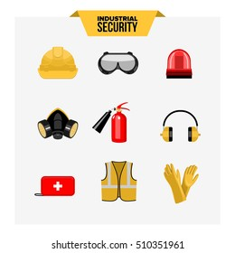 Safety at work vector icons collection.