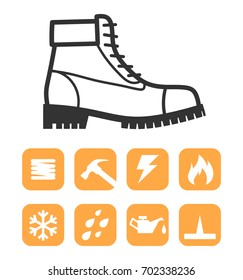 Safety worker shoes / boots and Feature Symbols