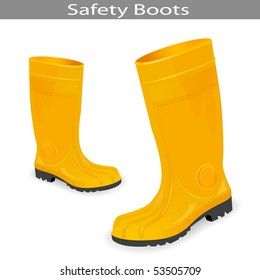 Safety Yellow Boots. Vector Illustration