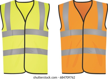 Safety yellow and orange vests. vector illustration