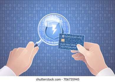 Safety/Secure Online Payments. Illustration on the subject of Cybersecurity.