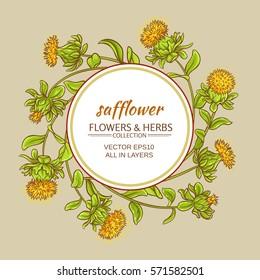 safflower plant vector frame on color background