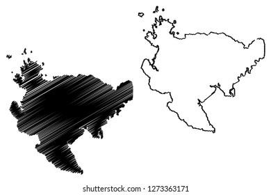 Saga Prefecture (Administrative divisions of Japan, Prefectures of Japan) map vector illustration, scribble sketch Saga map