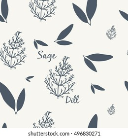Sage and Dill Simple Elegant Seamless Vintage Pattern Vector Illustration