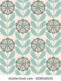 Sage and nude geometric flower print. Seamless vector all over simplistic floral design suitable for fashion, wallpaper, home decor and stationary.