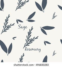 Sage and Rosemary Simple Elegant Seamless Vintage Pattern Vector Illustration