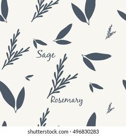 Sage and Rosemary Simple Elegant Seamless Vintage Pattern Vector Illustration