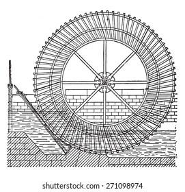 Sagebien wheel, vintage engraved illustration. Industrial encyclopedia E.-O. Lami - 1875.