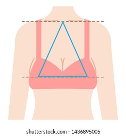 sagging breast shape is isosceles triangle connecting three points from center of clavicle to top boobs.  Beauty and body care concept illustration
