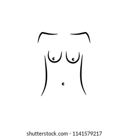 sagging breasts icon. Element of anti aging icon for mobile concept and web apps. Thin line sagging breasts icon can be used for web and mobile