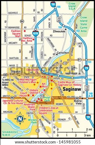 Saginaw Michigan Area Map Stock Vector Royalty Free 145981055