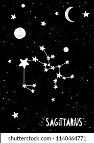 Sagitarius Sign Design.Hand Drawn Zodiac Vector Illustration. Black Grungy Background. Black and White Stars and Moon. Childish Style. Starry Night Sky with Monn and Planets. White Hand Written Letter
