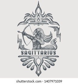 sagitarius zodiac vintage vector illustration