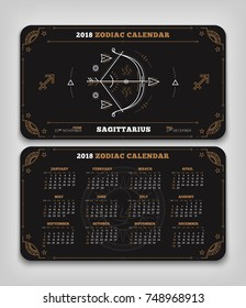 Sagittarius 2018 year zodiac calendar pocket size horizontal layout Double side black color design style vector concept illustration