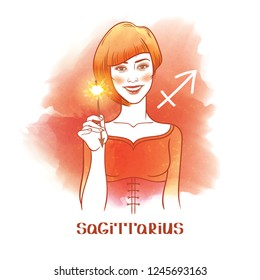 Sagittarius astrological sign. Beautiful red haired girl with sparkler. Watercolor background
