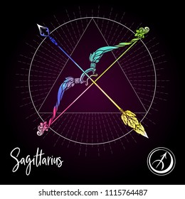 Sagittarius, bowman, bow Zodiac sign. Astrological horoscope collection. Multicolor on black dackground. Vector illustration
