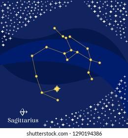 Sagittarius constellation vector. Stars on deep blue sky with Sagittarius zodiac sign