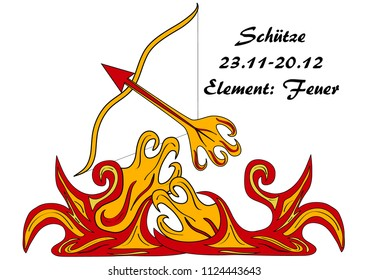 Sagittarius with german text: Sagittarius, date, element: fire, vector graphics eps10