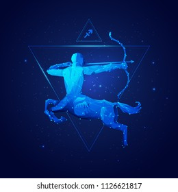sagittarius horoscope sign in twelve zodiac with galaxy stars background, graphic of wireframe centaur