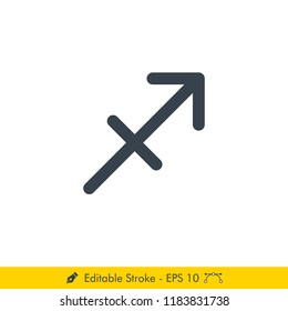 Sagittarius sign Icon / Vector Set - In Line / Stroke Design