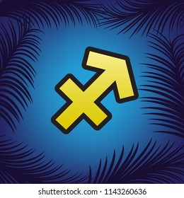 Sagittarius sign illustration. Vector. Golden icon with black contour at blue background with branches of palm trees.