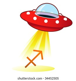 Sagittarius zodiac astrology sign icon on retro flying saucer UFO with light beam.