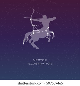 Sagittarius zodiac constellation vector sign with silhouette