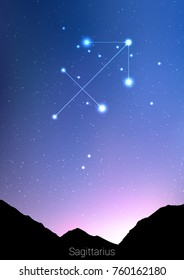 Sagittarius zodiac constellations sign with forest landscape silhouette on beautiful starry sky with galaxy and space behind. Sagittarius horoscope symbol constellation on deep cosmos background.