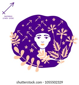 Sagittarius of zodiac and horoscope concept, vector art and illustration. Girl. Beautiful girl silhouette. Astrological sign as a beautiful women. Future telling, horoscope, alchemy, spirituality