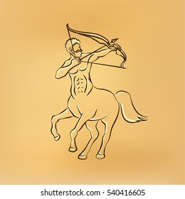 Sagittarius zodiac illustration on yellow paper background. Centaur with a bow, front view. Vector retro drawing illustration.