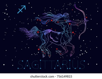 Sagittarius zodiac sign. Archer centaur, horoscope astrology icon, Greek mythology. Vintage style engraving tattoo design. Hand drawn vector illustration.