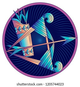 Sagittarius zodiac sign, astrological, horoscope symbol. Futuristic style icon. Stylized graphic blue bow and arrows in quiver. Tensing the string, aiming. Feather, nock, tackle. Vector illustration.