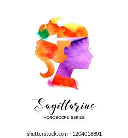 Sagittarius zodiac sign. Beautiful girl silhouette. Vector illustration. Horoscope series