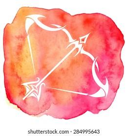 Sagittarius zodiac sign on watercolor background. Vector Illustration