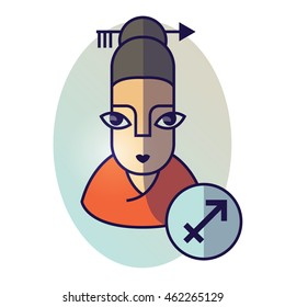 Sagittarius zodiac sign. Vector illustration of horoscope. Girl portrait in a Sagittarius character