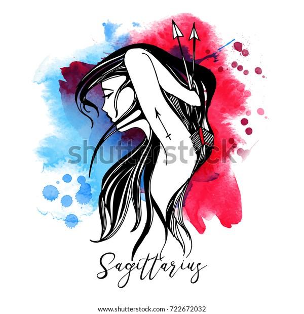 Sagittarius Zodiac Signs Girl Stock Vektorgrafik Lizenzfrei 722672032