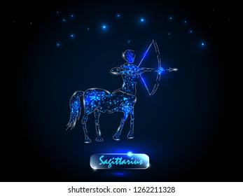 Sagittarius. Zodiac symbol on a background of the starry sky. Signs of the zodiac, astrology.