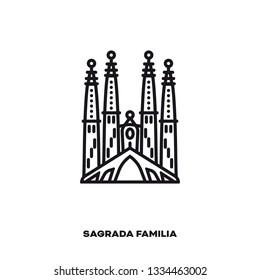 Sagrada Familia Cathedral at Barcelona, Spain, vector line icon. International landmark and tourism symbol.