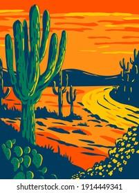 Saguaro Cactus at Dusk in Saguaro National Park in Tucson Arizona National Park California WPA Poster Art