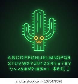 Saguaro cute kawaii neon light character. Cactus with smiling face. Wild cacti. Happy tropical plant. Funny emoji, emoticon. Glowing icon with alphabet, numbers, symbols. Vector isolated illustration