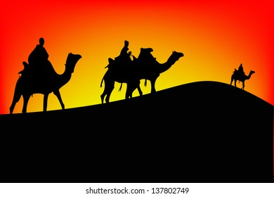 Sahara scenic with camel silhouettes.vector