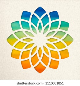 Sahasrara, 7th crown chakra illustration in paper cut style. Colorful watercolor background, yoga shape. EPS10 vector.