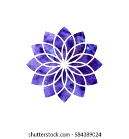 Sahasrara chakra. Sacred Geometry. One of the energy centers in the human body. The object for design intended for yoga. Vector illustration.