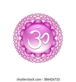 Sahasrara chakra symbol isolated on white photo-realistic vector illustration