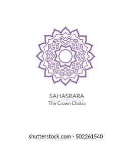 Sahasrara. Chakra vector isolated minimalistic icon - for yoga studio, banner, poster.