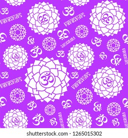 Sahasrara. Chakras seamless pattern. Vector esoteric background. Hinduism, buddhism. Line symbol. Om sign